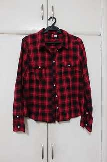 H&M Red and Black Checkered Poli