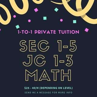 1-1 Math Tuition