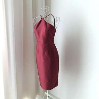 FREE POST Doublewoot Maroon Halterneck Dress