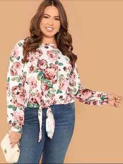 plus size floral front tie pullover