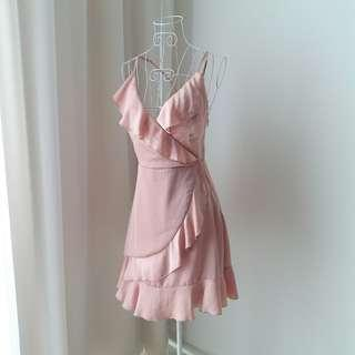 Dusty Pink Ruffled Wrap Dress