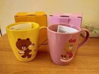 Rilakkuma mugs plus coasters           Line Friends 鬆弛熊水杯連杯墊
