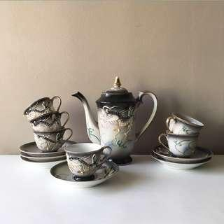 13pc Japanese Vintage Embossed Flying Dragon Porcelain Demitasse Tea Set in Black Shade