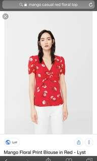 🚚 Mango Floral Blouse in Red