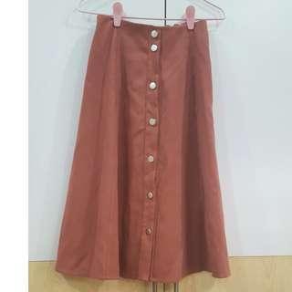 Dusty Pink Midi Skirt