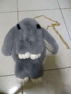 BN furry bunny golden chain sling bag