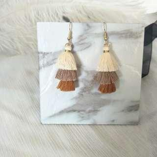 Beige Layered Tassle Earrings