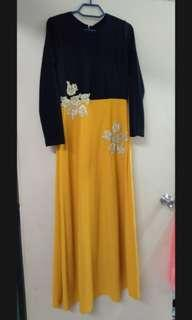 [free post sm] Long Dress Jubah Yellow Mustard Gold Flower Long Sleeve