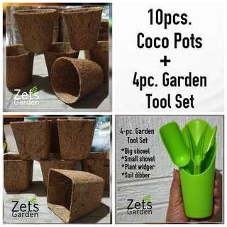 10pcs. COCO POTS + GARDEN TOOLS Set