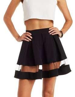 🚚 BNWT TheClosetLover Black Skater Skirt with Mesh Strip