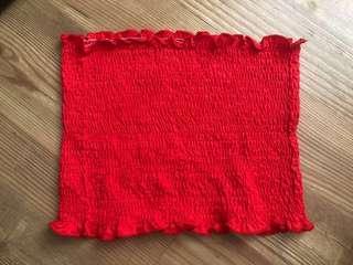 Ruffled Red Tube Top