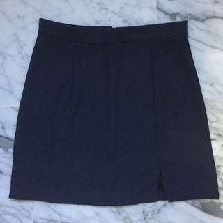 🚚 Uzzlang High Waist Navy / Teal Slit Skirt