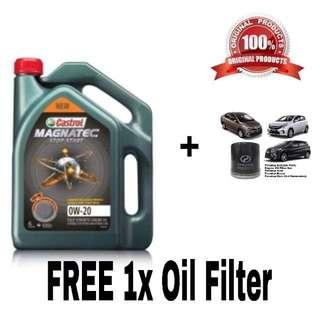 100% Castrol Engine Oil 0w20 fully Synthetic (4L) + FREE 100% Perodua oil filter