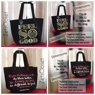 2pcs. BODY SHOP Canvas Tote Bags