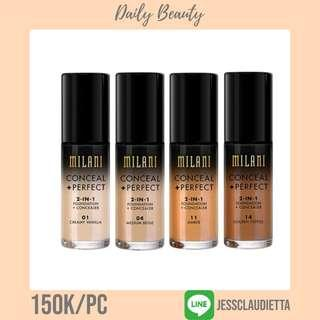 // conceal + perfect 2-in-1 foundation - milani cosmetics //