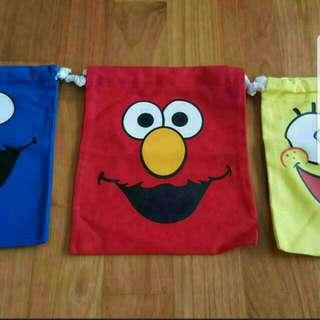 Elmo cookie monster drawstring pouch