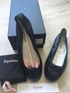Repetto Black Snakeskin Flats Size 37