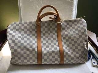 68d356c8c8b7 Auth LV Keepall 45 Louis Vuitton Ginza Store Mint Damier Ebene White