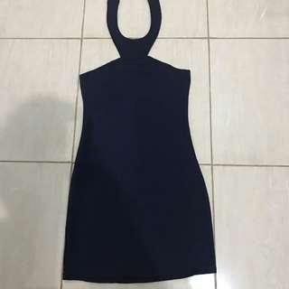 Dress navy blue biru mini sexy