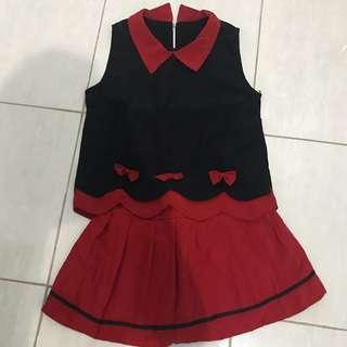 Top collar black red merah hitam set skirt rok