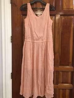 Coral colored plain dress