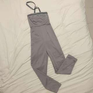 Grey Stretchable Jumpsuits