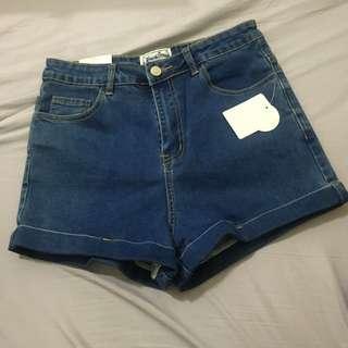 全新彈性高腰牛仔短褲