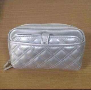 Fancl Silver Quilted Makeup Pouch
