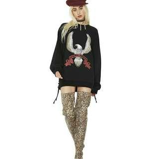 歐美時尚休閒度假日韓系個性搖滾龎克老鷹刷舊圖騰造型開叉綁帶男友風長t桖