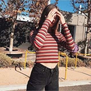 🚚 Brandy Melville Red Tan Striped Santana