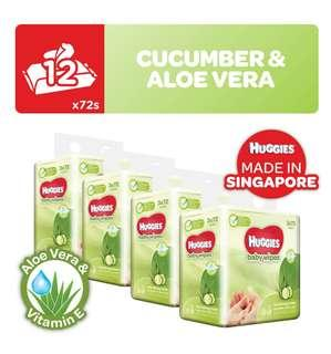 Huggies Nourishing baby wipes with cucumber and aloe 72s x 12 Packs