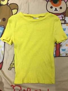 H&M 女裝 上衣 Women's Top Yellow 黄色 短身