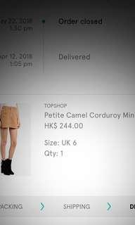 TOPSHOP MOTO SEXY MINI DENIM SKIRT(Camel/Beige)