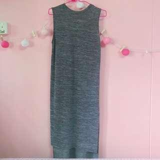 🚚 Grey Maxi Slit Dress