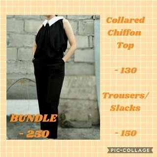 COLLARED CHIFFON TOP & SLACK/ TROUSERS SOLD