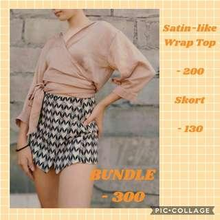 SATIN LIKE WRAP TOP SOLD / SKORT AVAILABLE