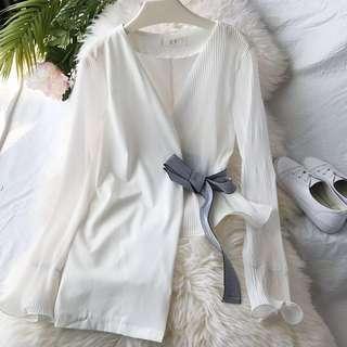🚚 Irregular Pinstripes White Long Sleeve Top