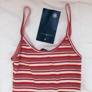 🚚 Brandy Melville Red/Light Blue Striped Kyran Dress