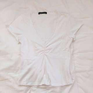 🚚 Brandy Melville White Lace Trim Gina Top