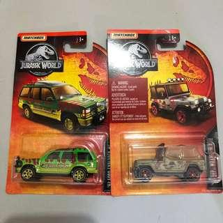 Matchbox Jurassic Jeep and Rover Pair