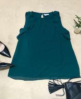 H&M Olive Green Sleeveless Ruffle Top