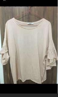 Zara peach ruffle arm blouse bukan h&m bershka
