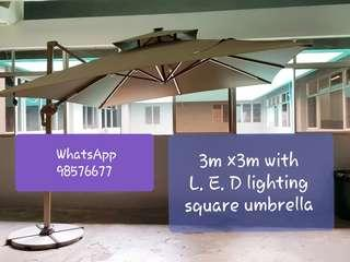 Brand new sunray outdoor patio parasol 3m ×3m square LED double top umbrella.