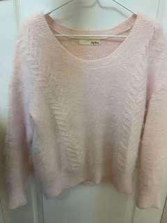 Lily brown baby pink兔毛柔軟大圓領毛衣 冷衫
