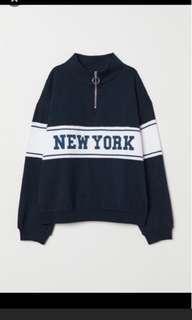 H&m navy collar sweatshirt bukan zara bershka