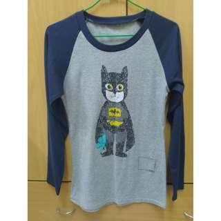 蝙蝠俠 貓 薄 長袖T恤