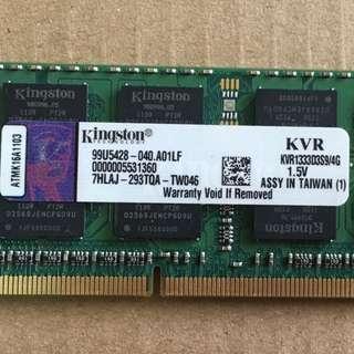 Kingston 4Gb RAM - Laptop- DDR3-1330Mhz
