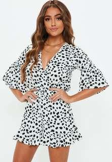 MISSGUIDED leopard print ruffle playsuit