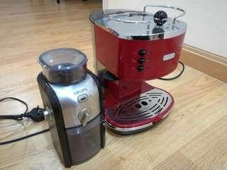 Coffee Machine + Grinder (Delongi Espresso + Krups grinder)