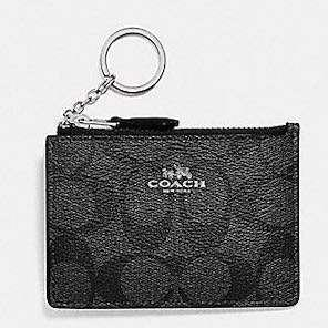 BN New Auth Coach Card Holder Skinny ID  Coin Case Purse Key Holder Signature Mini Smoky Black Silver Authentic